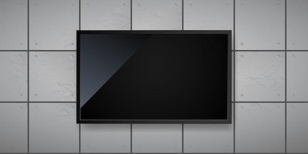 Leeg led-scherm dat aan het sjabloon van de muurillustratie hangt