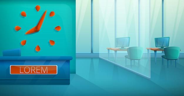 Leeg modern binnenland van modieus bureau, vectorillustratie