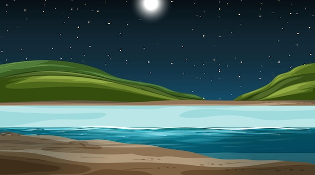 Leeg natuurlandschap bij nachtscène met bergachtergrond