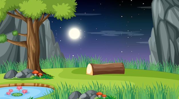 Leeg natuurlandschap bij nachtscène