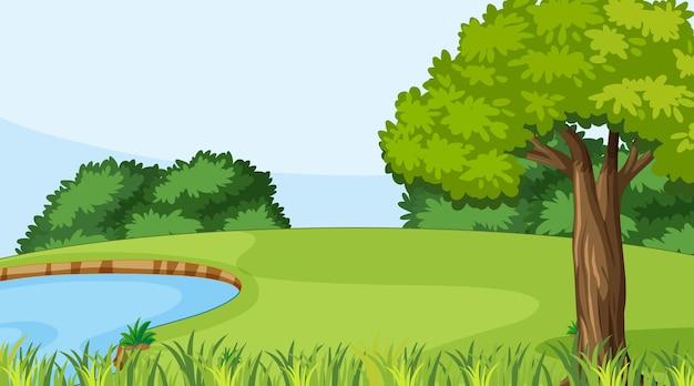 Leeg natuurparklandschap bij daglicht Gratis Vector