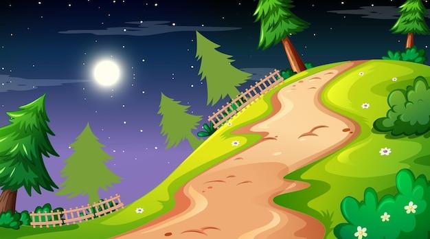 Leeg natuurparklandschap bij nachtscène met traject door de weide