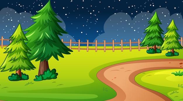 Leeg natuurparklandschap bij nachtscène met weg door de weide Gratis Vector