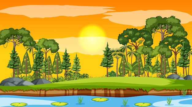Leeg natuurparklandschap bij zonsondergangscène