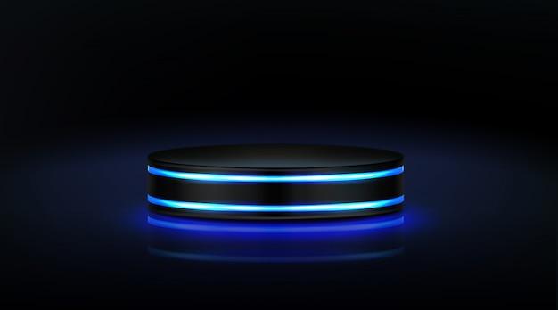 Leeg neon podium voor productpresentatie