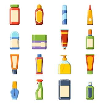 Leeg pakketcontainerontwerp en leeg pakketmalplaatje. stel leeg product vloeibaar schoon huishouden van het pakketkoopwaar in. 16 zeer gedetailleerde platte kleurrijke cosmetica lege pakket iconen vector.