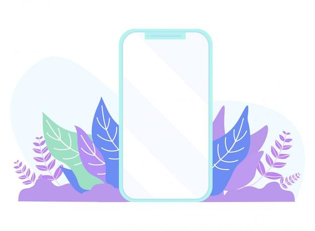 Leeg plat mobiel scherm op planten gebladerte cartoon