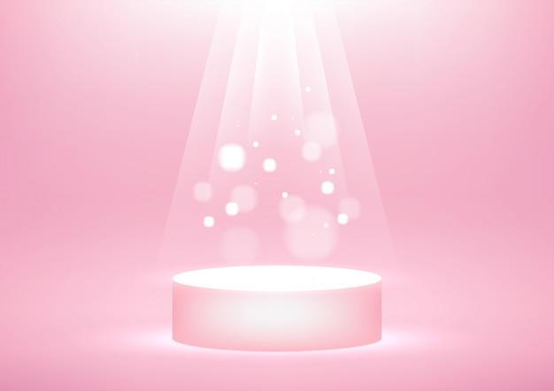 Leeg podium met fel sprankelend licht