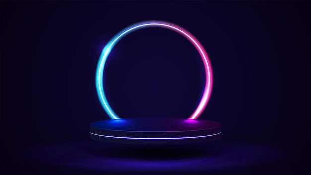 Leeg podium met lijngradiënt neonring op achtergrond. 3d render. illustratie met abstracte scène met roze en blauw neonframe