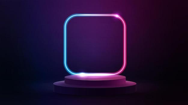 Leeg podium met lijnverloop neon vierkant frame met afgeronde hoeken. 3d render illustratie met abstracte scène met roze en blauw neon frame