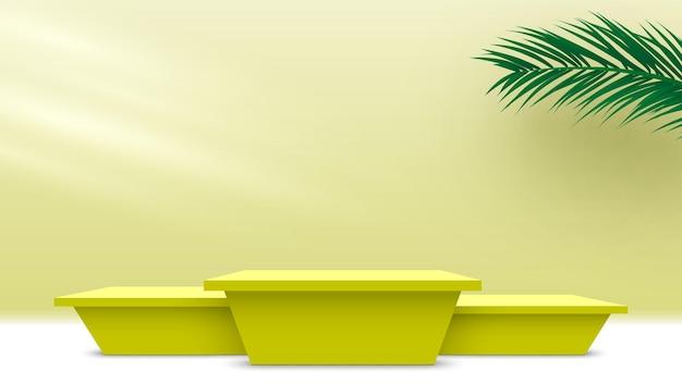 Leeg podium met palmbladeren geel voetstuk cosmetische producten weergeven platform 3d render podium