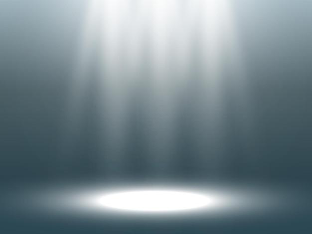 Leeg podium met schijnwerpers verlichtingsapparaten op transparant Premium Vector