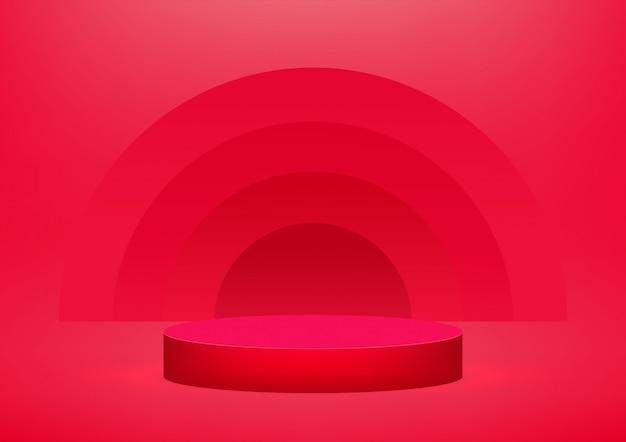 Leeg podium op rode achtergrond