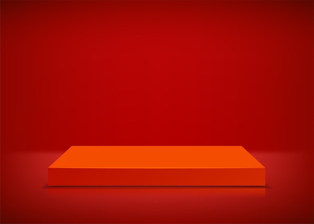 Leeg podium. rode achtergrond. podium voor presentatie.
