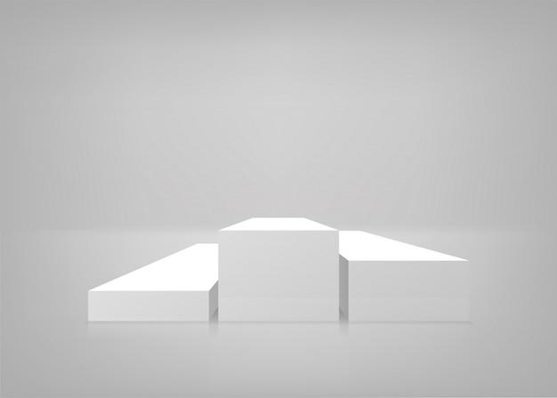 Leeg podium. witte achtergrond. podium voor presentatie. illustratie.