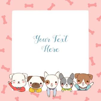 Leeg prikbord met schattige honden in vlakke stijl