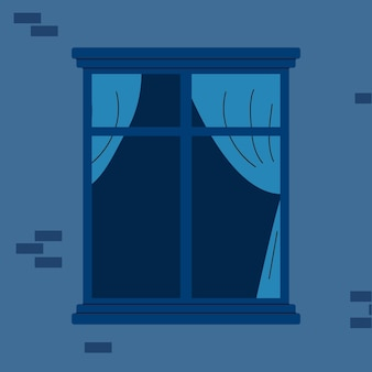 Leeg raam met blauwe gordijnen gezien van buiten naar buiten