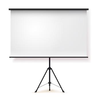 Leeg realistisch draagbaar projectiescherm met drie poten.