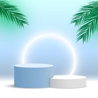 Leeg rond podium met palmbladeren voetstuk vertoningsplatform voor cosmetische producten beursstand