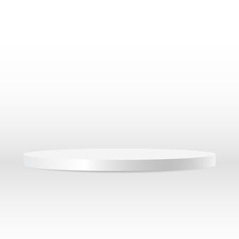 Leeg rond zilveren voetstuk wit rond bekroond winnaarpodium voor productweergave