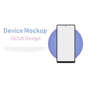 Leeg scherm van de smartphone, telefoonmodel met blauwe cirkel voor ui-ontwerpinterface. vector.