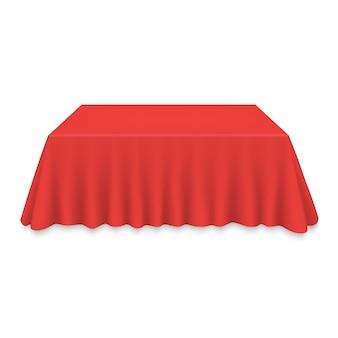 Leeg tafelkleed op geïsoleerde tabel