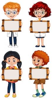 Leeg teken sjabloon met gelukkige kinderen op witte achtergrond