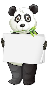 Leeg teken sjabloon met panda op witte achtergrond