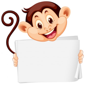 Leeg teken sjabloon met schattige aap op witte achtergrond