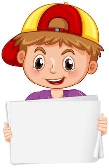 Leeg tekenmalplaatje met gelukkige jongen op witte achtergrond