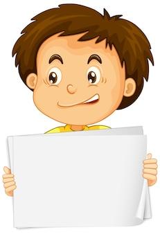 Leeg tekensjabloon met schattige jongen op witte achtergrond
