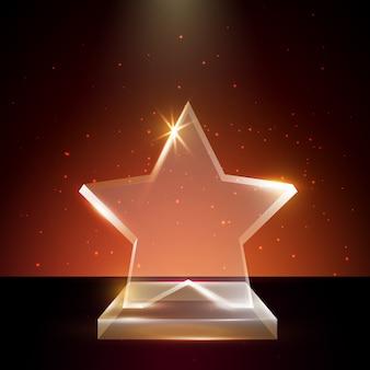 Leeg transparant acrylglas trophy award-sjabloon op gloeiende achtergrond