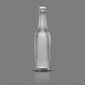 Leeg transparant bier of waterfles. realistische 3d vectorillustratie. lege fles transparant g