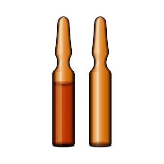 Leeg transparant donker glazen ampul met vaccin of medicijn voor medische behandeling. lege realistische sjabloon van flacon