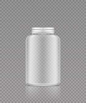 Leeg transparant plastic flesmodel voor supplement of medicijnpillen