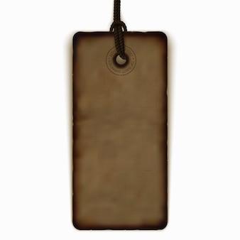 Leeg uitstekend prijskaartje, realistisch bruin etiket antiek