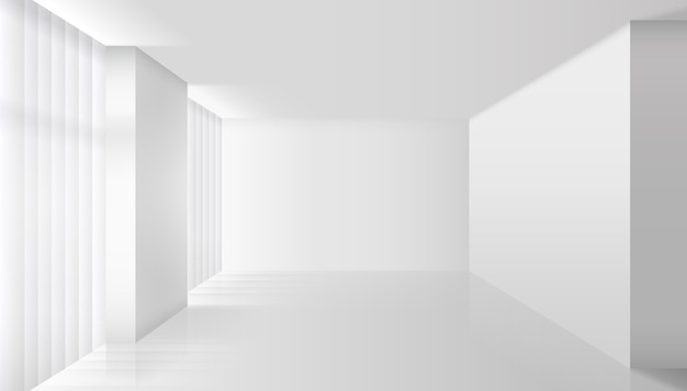 Leeg vector wit interieur. wandruimte en vloer, helder appartement, design en minimalistische stijl