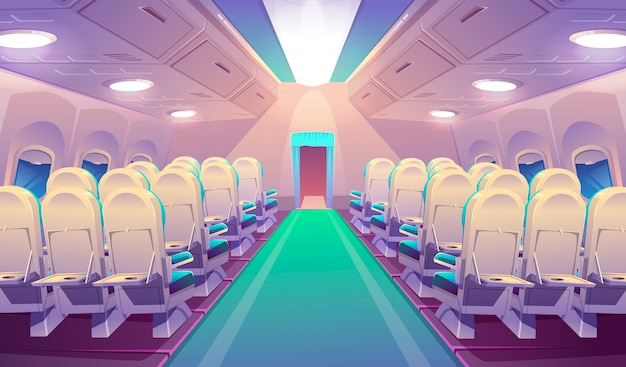 Leeg vliegtuig interieur met stoelen
