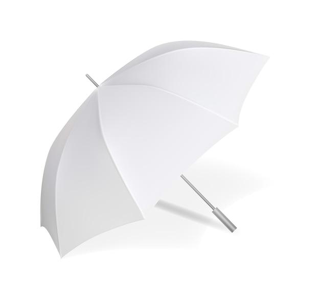 Leeg wit open paraplumodel voor geïsoleerde branding