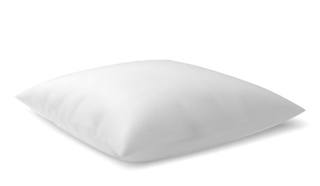 Leeg zacht hoofdkussen op een witte achtergrond