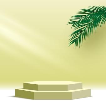 Leeg zeshoekig podium met palmbladeren voetstuk producten weergaveplatform 3d render podium