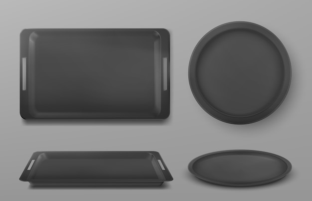 Leeg zwart voedseldienblad voor lunch en pizza in restaurant of kantine