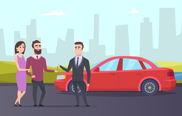 Leenauto. stel huurt een auto bij een verhuurmakelaar. stripfiguur mensen en stadslandschap. illustratie agent auto verhuur, autoverhuur