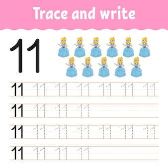 Leer cijfers traceer en schrijf handschriftoefening