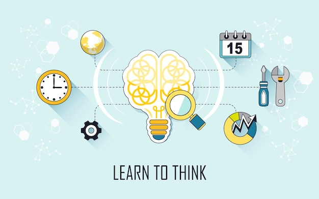 Leer denken concept: hersenen en tools in lijnstijl