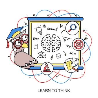 Leer denken concept met een uil in lijnstijl