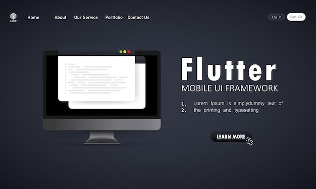 Leer flutter mobile ui framework coderen op computerscherm, programmeertaal code illustratie. vector op geïsoleerde witte achtergrond. eps-10.