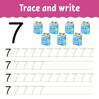 Leer getallen. traceer en schrijf. terug naar school. handschrift oefenen.