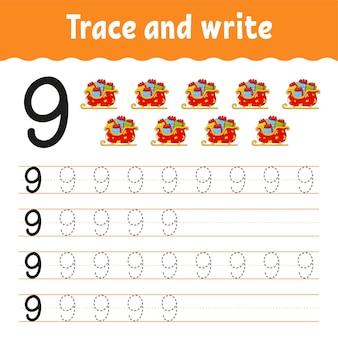 Leer getallen. traceer en schrijf.