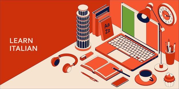 Leer italiaans isometrisch concept met open laptop, boeken, koptelefoons en koffie.